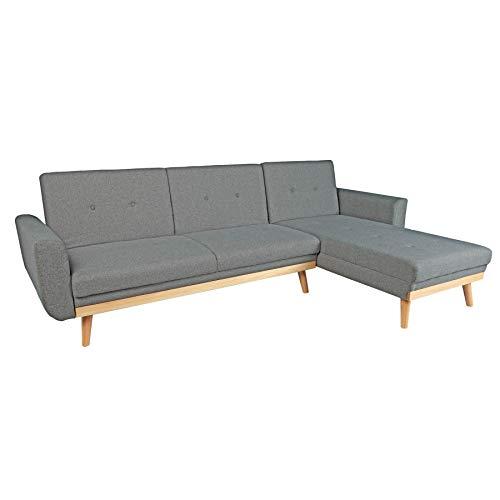 Invicta Interior Design Ecksofa Skagen 260cm anthrazit Scandinavian Design Bettfunktion Eckcouch Schlafcouch