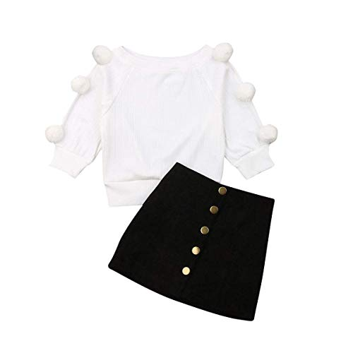 Kids Baby Girl Winter Skirt Outfit Set Ball Ribbed Knit Sweater Shirt Tops + Black Pencil Skirts Fall Clothing Set (Black Skirts, 18-24 Months)