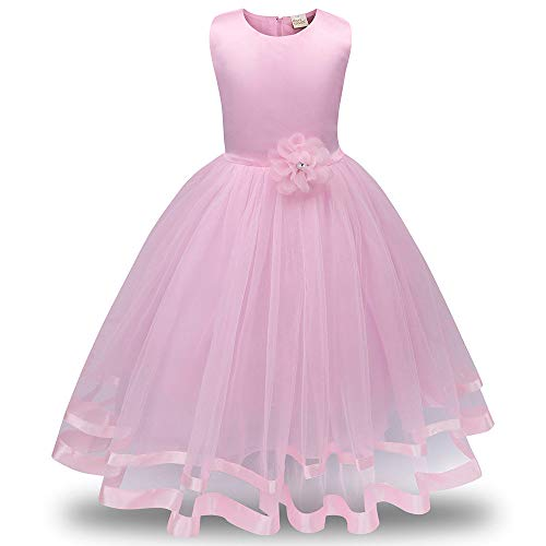 Best Bargain jin&Co Party Dresses for Kids Girls Sleeveless Wedding Pageant Party Elegant Tulle Tu...