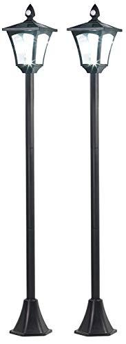 Royal Gardineer Gartenleuchte: 2er-Set Solar-LED-Gartenlaterne, PIR-/Dämmerungssensor, 100 lm, 160 cm (Strassenlampe)