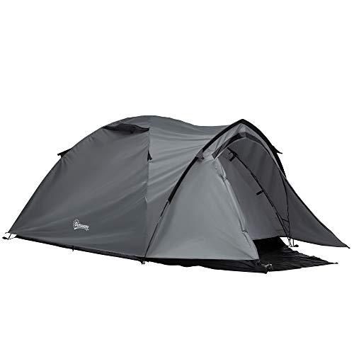 Outsunny Tenda da Campeggio 4 Posti Impermeabile con Vestibolo, Finestre e Porte con Cerniera, 325x183x130cm Grigio