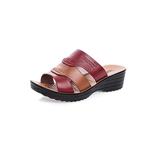 Strand slippers platte schoenen,Antislip zachte zool platte schoenen, plus lederen zomerpantoffels-Rode wijn_36