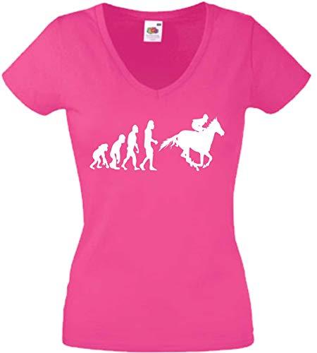 JINTORA T-Shirt - Chemise Femme Rose - V-Cou - Taille S - Evolution Sport équestre - JDM/La Coupe - pour la fête Carnaval Travail et Loisirs