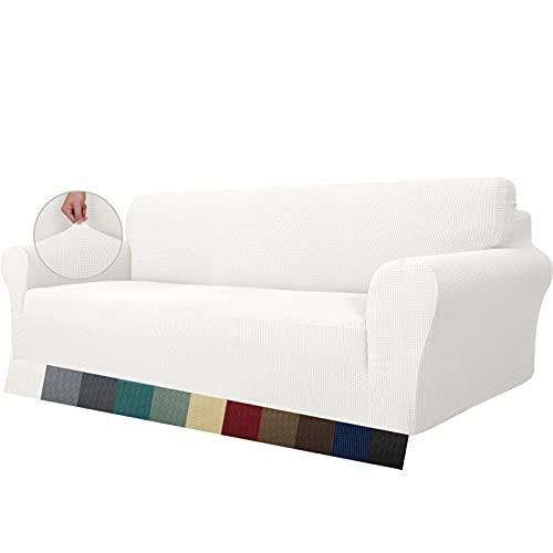 MAXIJIN Funda de sofá superelástica para sofá de 4 plazas, Extragrande, Universal, Fundas de sofá Jacquard y Elastano, Protector de Muebles de Perro (4 Plaza, Blanco)