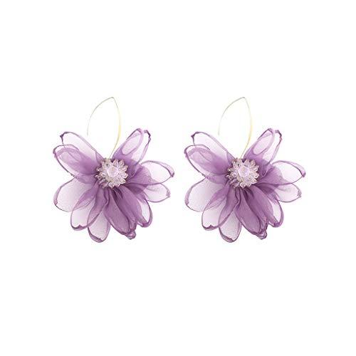 Pendientes de flores simples y de moda, para novias y madres, 10,7 cm (morado, blanco) pendientes de decoración (color: púrpura)