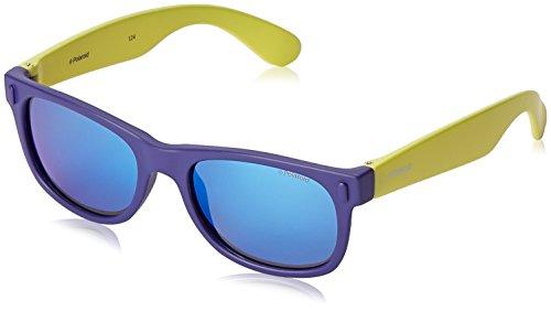 Polaroid P0115 JY UDF Gafas de sol, Azul (Bluette Lime/Grey Blue Mirror Polarized), 46 Unisex Niños
