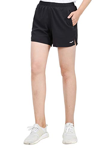 MIER Women's 5 Inches Workout Running Shorts Quick Dry Athletic Shorts with Zipper Pockets, Water Resistant, Black, L