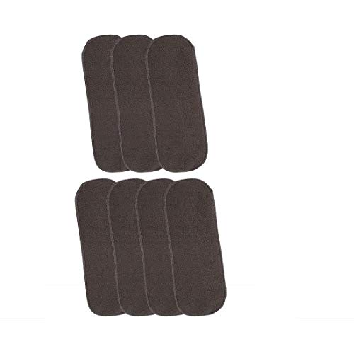 Grandvilla 5 Layers Bamboo Charcoal Diaper Inserts Liners Natures Cloth Diaper Liner, Wetfree Reusable Washable Cotton Diaper Nappy Inserts for Baby Cloth Diapers Liners (Pack of 7, Black)