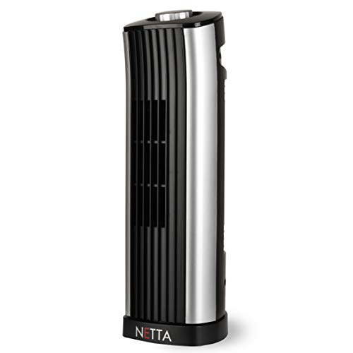 NETTA Mini Tower Fan, Quiet Cooling Electric Portable Small Personal Desk Table Fan, 85? Oscillating 14 Inch, Black And Silver