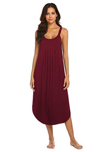 Ekouaer Womens Sleeveless Long Nightgown Summer Slip Night Dress Cotton Sleepshirt Chemise (Wine Red XXL)