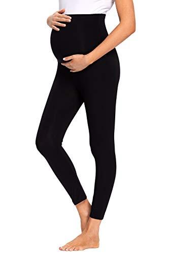 JMITHA Leggings para Premamá Largos Algodón Super Cómodas Polainas de Maternidad Ropa Deporte Embarazo Pantalones Mujer Delgada (Negro, S)