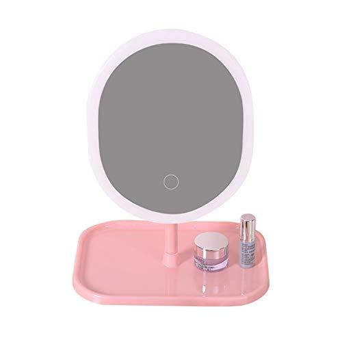 Miroir de maquillage LHY LED Miroir Rechargeable pour étudiant en dortoir habillé de lumière La Mode (Color : Oval, Size : Sanguang)