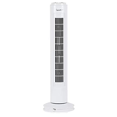 Signature S40012 Portable 29 Inch Oscillating Tower Fan with 1 Hour Timer and 3 Speed Settings, White