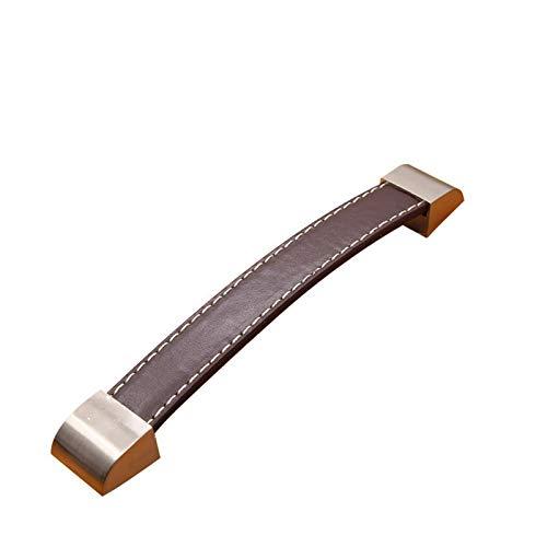 WAYYQX Manija de puerta de granero de aleación de zinc y cuero para muebles, perillas de cajón, cajón, maleta, tiradores de cocina negro y marrón, manija de palanca interna (color: marrón 96 mm)