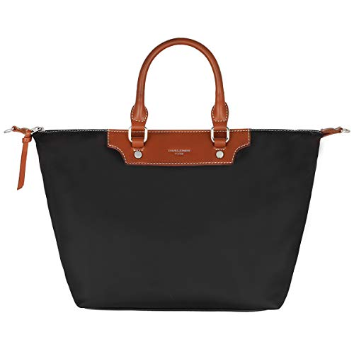 David Jones - Bolso Tote Nylon Mujer - Shopper Nailon Impermeable - Bolso de Mano Plegable - Bolso de Hombro Bandolera Gran Capacidad - Totalizador Shopping Bag - Viaje Playa Comprar Moda - Negro