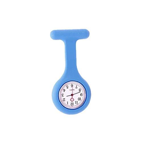 Rrunzfon Broche Mujeres Bolsillo Duradero Reloj Analógico Reloj Reloj De Cuarzo De Silicona Clip De Bolsillo Fob Médica Azul Reloj Enfermera