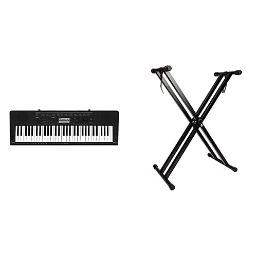 Casio CTK-3500 - Teclado Digital, 61 Teclas sensibles, Estilo Piano, Negro + RockJam Soporte de Teclado de Doble Refuerzo, Ajustable de 29 cm a 91 cm