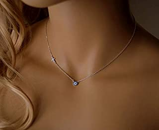 Target Evil Eye Necklace blue sterling silver with cubic zirconia and cross