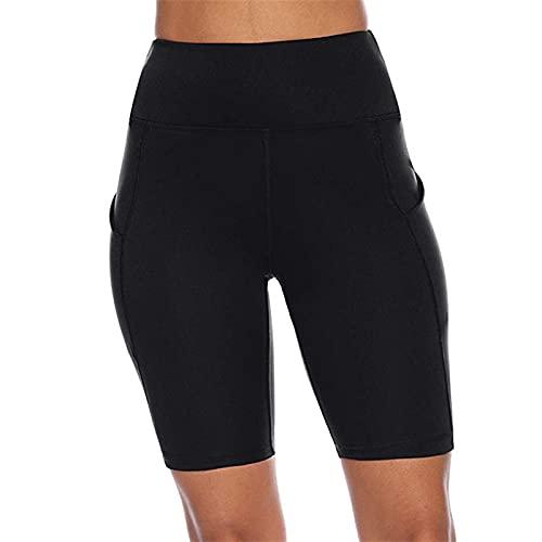 Sommer Die Fitness der hohen Taille Hose tragen Gesäß Große Yards Yoga Shorts Reiten Hosen Pocket Fünf Minuten Hose (Color : Black, Größe : XXL)