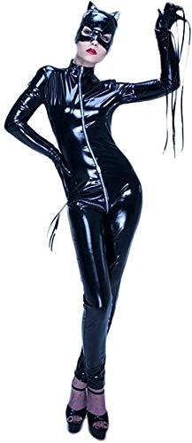 AZBYC Mujeres De Cuero Traje Ajustado Traje De Lencería Cuero De La Laca Sexy De Los Catwoman Látex Catsuit Vestido De Mono De Mono Vestido De Clubwear,Black-S