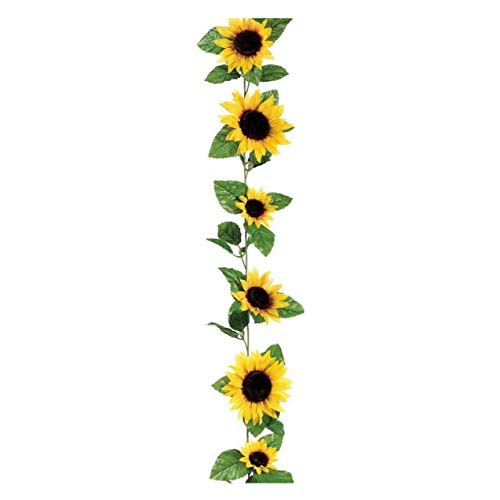 Zeagro Künstliche Sonnenblume Seidengirlande Zuckerrohr Blumen Rebe Rattan Zuckerrohr Girlande Pflanze Dekoration Hochzeit Zuhause Garten Tischdeko ca. 2,6 m, Gelb