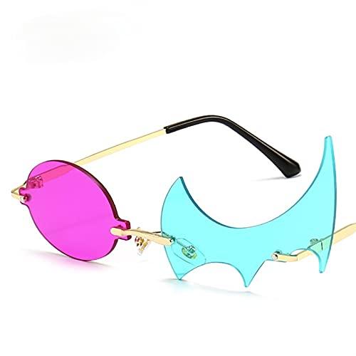 XIAOLING Occhiali da Sole montati esclusivi Donne da Donna in Oro Irregolare UV400. Occhiali da Sole Fashion Personalizzato Fancy Shades Eyewear Outdoor 2021 (Color : 4, Size : Height: 37mm)