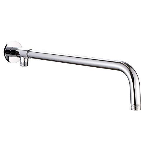 Drenky - Brazo de ducha, de acero inoxidable, con soporte de cobre, cromado, pulido, plateado, para cabezal de ducha con efecto lluvia, Shower arm 40cm