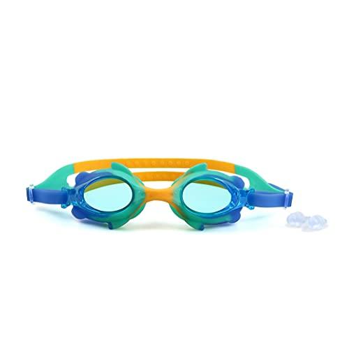CH-BZ Niños Nadando Gafas con Lentes antie niebles y Vista Amplia, Gafas de natación, Puente de la Nariz Flexible, Gafas de natación de Silicona Suave para niños y Adolescentes tempranos,Blue o Green