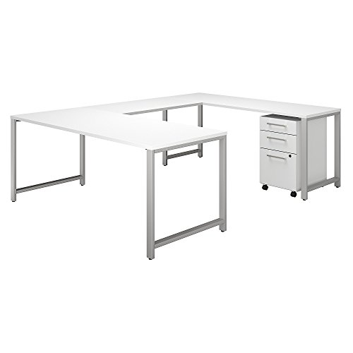 Bush Business Furniture 400 Series 72W x 30D U Shaped Table Desk with 3 Drawer Mobile File Cabinet in White