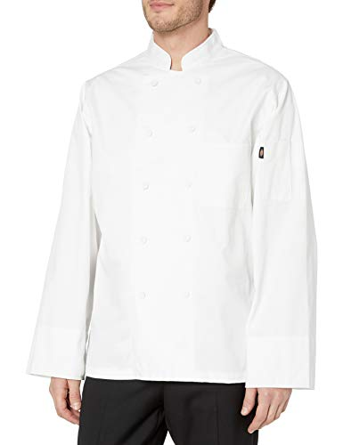 Dickies Chef Classic Cloth Covered Button Coat, White, X-Small