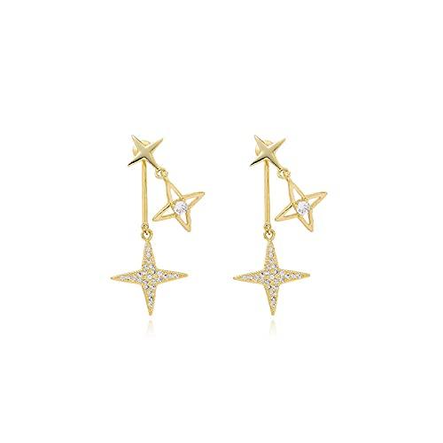 S925 Pendientes de personalidad con micro incrustaciones de circonita con microincrustaciones de aguja de plata S925 Pendientes franceses de dos pendientes de estrella de moda
