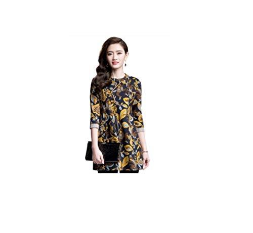 SBL Printed A-Linie Rock Elegante Frauen-Wettbewerb - Fünf-Punkte-Hülsen Reifen Damenmode Temperament Frühling Und Herbst Kleid,Gelbe Farbe,L