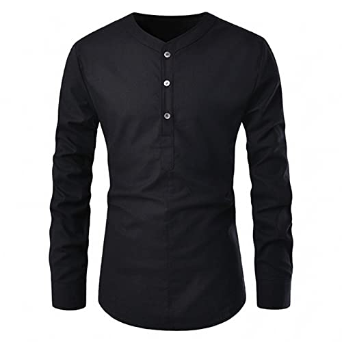 Henley Shirts for Men Long Sleeve Band Collar Button Down Tops Slim Fit Cotton Pullover Blouse Lightweight Hem Tshirt Black