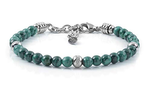 10:10 Pulsera de acero inoxidable y piedras naturales de Malaquita de 6 mm y perlas de acero inoxidable, pulsera para hombre y mujer muy resistente, fabricada en Italia.