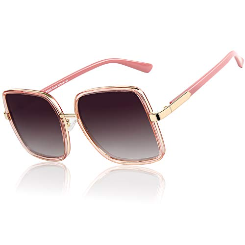 GQUEEN Gafas De Sol Polarizadas Con Montura Cuadrada De Gran Tamaño Para Mujer UV400 MF5