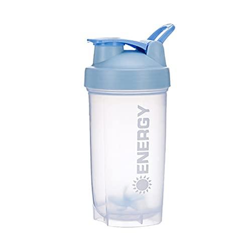 GRASARY Botella agitadora de 500 ml con bola mezcladora, hervidor de agua portátil a prueba de fugas, gran capacidad, mezcla, vaso de agua para viajes de gimnasio, color azul cielo