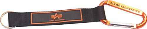 Alpha Industries Schlüsselring mit Karabinerhaken und Leder-Stoff (Orange)