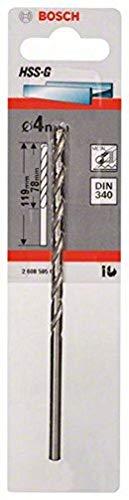 Bosch Professional Metallbohrer HSS-G geschliffen mit langer Arbeitslänge (Ø 4 mm)