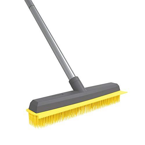 Rubber Broom Pet Hair Broom with Squeege Push Broom Carpet Rake for Carpet Hardwood Floor Tile Windows Cleaning