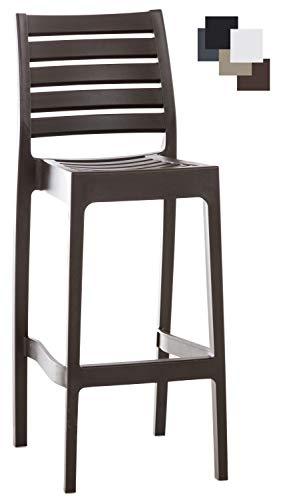 CLP Outdoor-Barhocker ARES mit Fußstütze | Tresenhocker in Rattan-Optik | Stapelbarer wetterfester Kunststoff-Barstuhl mit Einer Sitzhöhe von: 75 cm erhältlich Braun