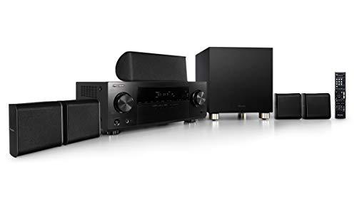 Pioneer HTP-075(B) 5.1 Heimkinosystem mit AV Receiver und Lautsprecher Set (100 Watt/Kanal, Multiroom, Dolby TrueHD, Bluetooth, Radio, Front USB/Audio in, Eco Mode), Schwarz