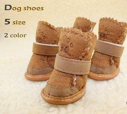 Firefly Happy Pets Unique Novel Nice Fashion Cool Interesting Cute Special Pet Sneakers Dog Cat Shoes Thermal Snow Boots Cotton Padded - 5 Size 2 Color to Chose (Brown, 3)