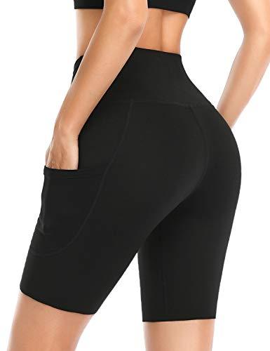 Safort Damen 20cm/13cm Schrittlänge Hoher Bund Kurze Sporthose mit 3 Taschen Yoga Kurze Hose Leggins Radlerhose Shorts Schwarz M