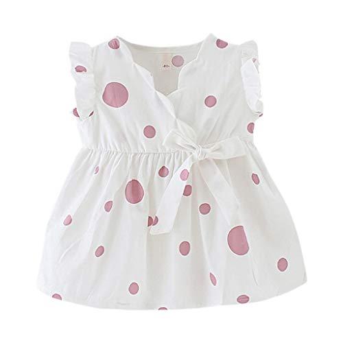 LEXUPE Kleinkind Baby Kinder Mädchen ärmellose Bänder Bogen Blumenkleid Prinzessin Kleider(Rosa,XXL)