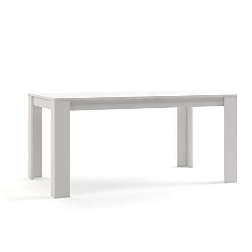 Mc Haus TROTTER - Mesa Comedor Madera Natural Blanca salon, Mesa cocina oficina de Diseño Rectangular con patas de madera lacada 160x90x75cm