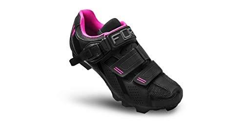 FLR F-65 dames MTB schoenen fietsschoenen Shimano SPD klikschoenen zwart roze ratel-/klittenbandsluiting met mesh-inzetstukken