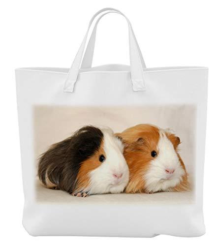 Merchandise for Fans Einkaufstasche- 38x42cm, 8 Liter - Motiv: Meerschweinchen Zwei Tiere nebeneinander [ 01 ]