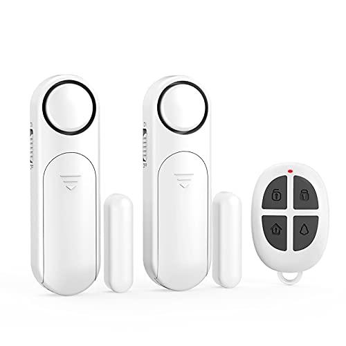 Allarme Sensore Porta, Telecomando 300 ft 120 dB Wireless Porta Contatto Sensore Antifurto Porta Allarme per la Sicurezza dei Bambini, Sicurezza Domestica (2 Sensori Porta Allarme e 1 Telecomando)