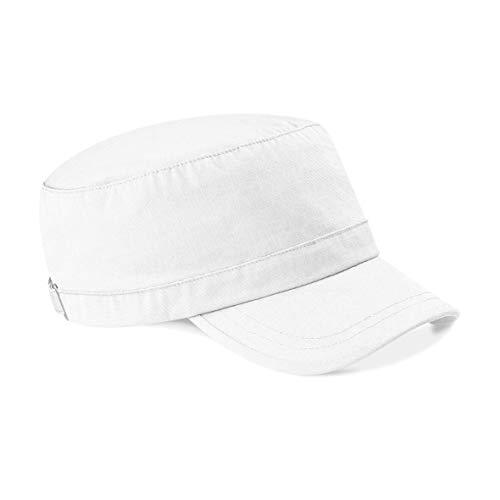 Beechfield Clásico Gorra Militar 100% Algodón - 9 Genial Colores - algodón, Blanco, 100% perchado 100% grueso 100% algodón, Mujer, Buckle and Strap