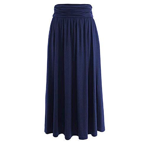 Nobrand Falda de otoño de otoño de péndulo Grande Plisada Vintage Grande para Mujer Faldas Elegantes de una línea de diseño Simple para Mujer